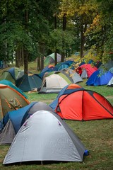 Many tents in nature