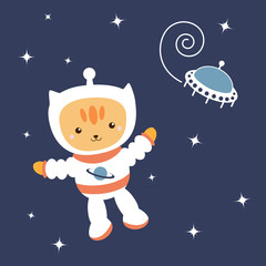 astronaut Cat in space (vector)