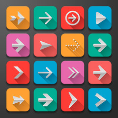 Set arrows flat icons, for webdesign, vector Eps10 illustration.