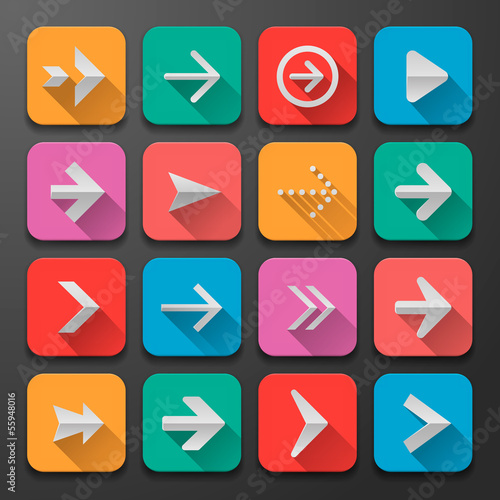 Set arrows flat icons, for webdesign, vector Eps10 illustration.