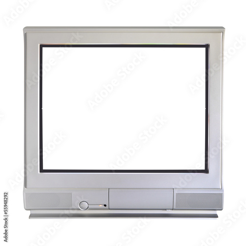 Analog cathode ray tube television on white background.