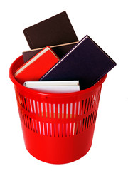 Books in bin isolated over white
