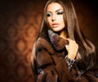Beauty Fashion Model Girl in Mink Fur Coat