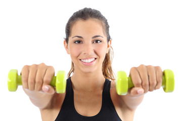 Beautiful sportswoman practicing aerobic with dumbbells