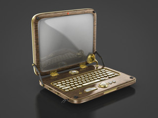 old vintage steam punk laptop