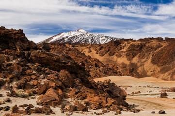 Teide behind vulcanic rock.