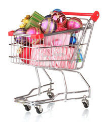 Beautiful bright Christmas balls and gifts in the cart isolated