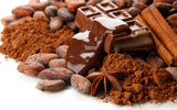 Composition of chocolate sweets, cocoa and spices, isolated - 55952403