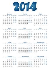Calendrier 2014 simple - facilement éditable