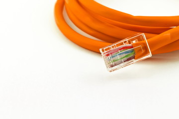 orange lan telecommunication cable isolated on white background