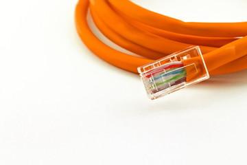 orange lan telecommunication cable isolated on white background