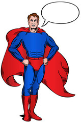 Superhero standing with speech bubble