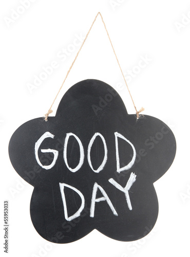 Chalkboard with sign isolated on white