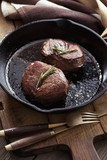 Beef steak in pan