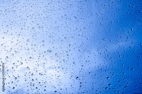 Water droplets on a glass.