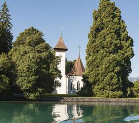 Thun, Kirche Scherzligen, Seeufer, Thunersee, Aare