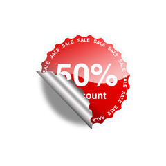 Sale sticker for 50 percent discount