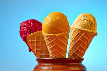 Three different autumn flavor ice cream