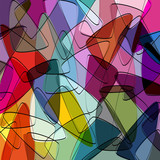 abstract colorful background, with triangle and lines, retro sty