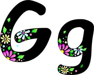 Floral Alphabet En & Gr_G_black