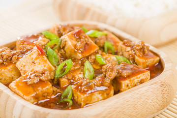 Mapo Tofu - Szechuan tofu and minced pork dish.
