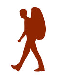 Vector Silhouette Of A Backpacker Or Hiker