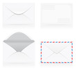 set of white blank envelopes vector illustration
