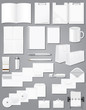 set icons white blank samples for corporate identity design vect