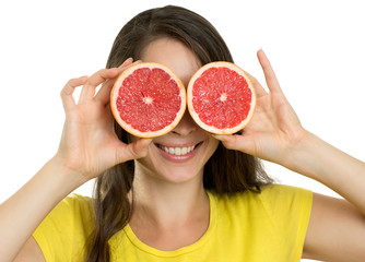 Beautiful happy woman with fruit