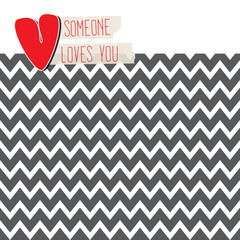 Love card with heart onmodern chevron background
