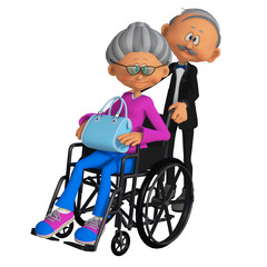 elderly woman sitting in the wheelchair 3d