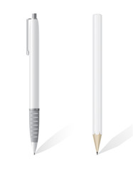 white blank pencil and pen vector illustration