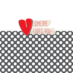 Love card with heart on polka dot background
