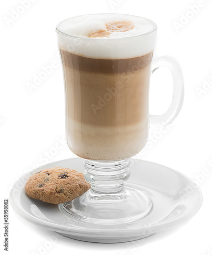 Gourmet hot coffee with whip cream isolated on white