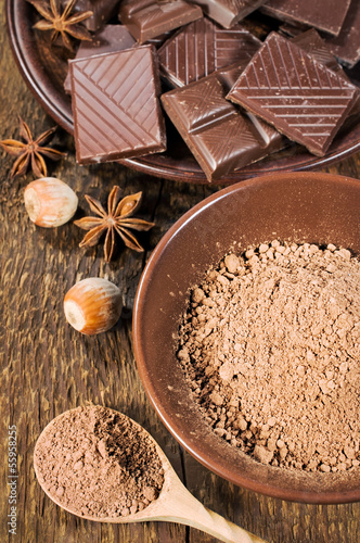chocolate, nuts and cocoa powder