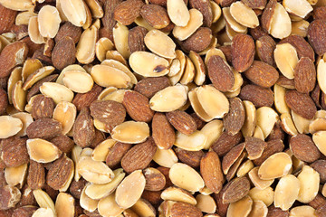A very close view of roasted almond nuts