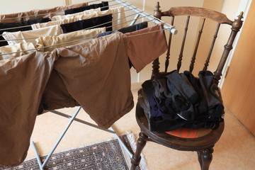 laundry rack and chair