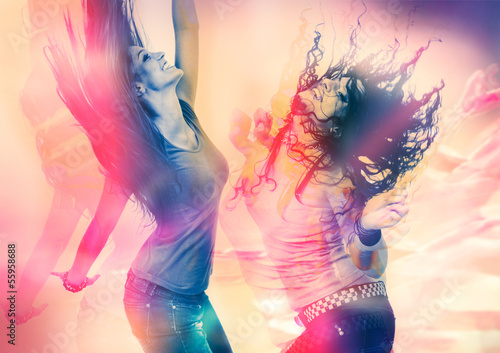 canvas print picture arty picture of dancing girls / disco disco 07