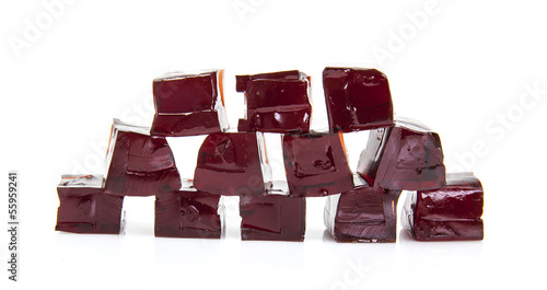 Cubes of Blackcurrent jelly on a white background