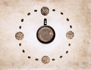 artwork  in grunge style,  clock