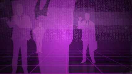 Purple business background with people