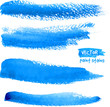 Bright blue watercolor brush vector strokes