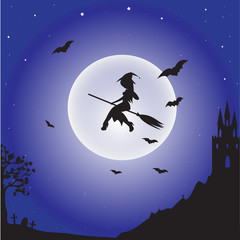 Witch flying on the moon background