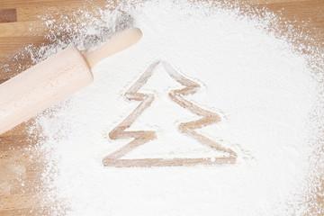 weihnachtsbaum in mehl gemalt