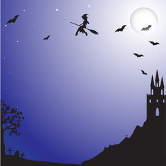 Witch flying from the castle at night