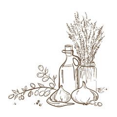 Sketch bottle of olive oil