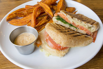 Smoked Salmon Panini and Sweet Potato Fries