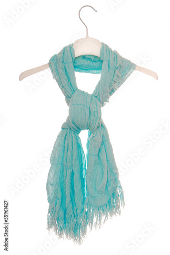 aquamarine scarf on hanger