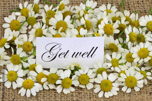 Get well card with chamomile flowers on jute surface