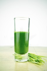 Shot glass of fresh wheatgrass